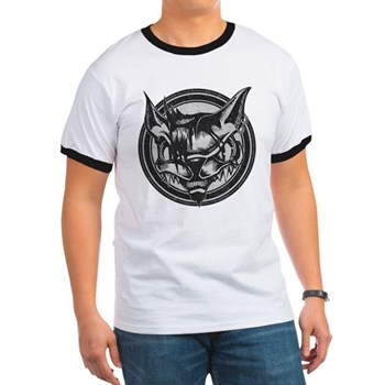 Distressed Wild Cat Stamp Ringer T-Shirt