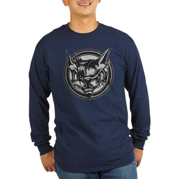 Distressed Wild Cat Stamp Long Sleeve Dark T-Shirt