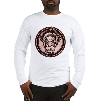 Distressed Wild Chimp Stamp Long Sleeve T-Shirt
