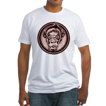 Distressed Wild Chimp Stamp Fitted T-Shirt