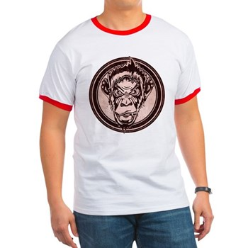 Distressed Wild Chimp Stamp Ringer T-Shirt