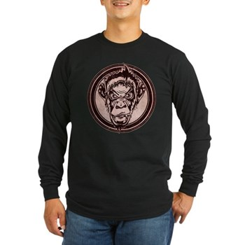 Distressed Wild Chimp Stamp Long Sleeve Dark T-Shi