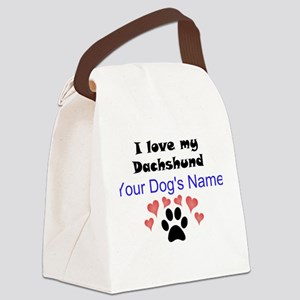 Custom I Love My Dachshund Canvas Lunch Bag