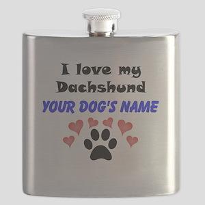Custom I Love My Dachshund Flask