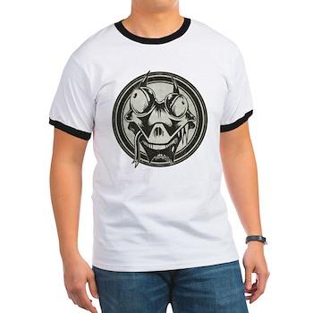 Distressed Wild Lizard Stamp Ringer T-Shirt