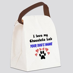 Custom I Love My Chocolate Lab Canvas Lunch Bag