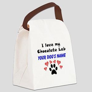 Custom I Love My Chocolate Lab Canvas Lunch Bag
