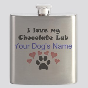 Custom I Love My Chocolate Lab Flask