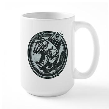 Distressed Wild Piranha Stamp Large Mug
