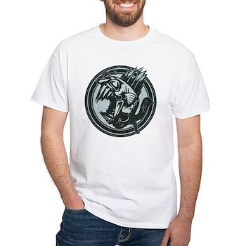 Distressed Wild Piranha Stamp White T-Shirt