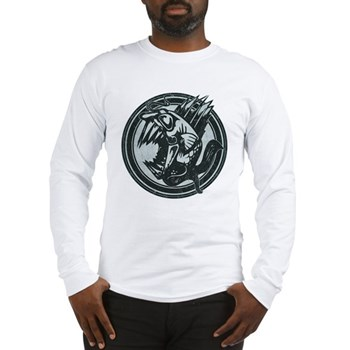 Distressed Wild Piranha Stamp Long Sleeve T-Shirt