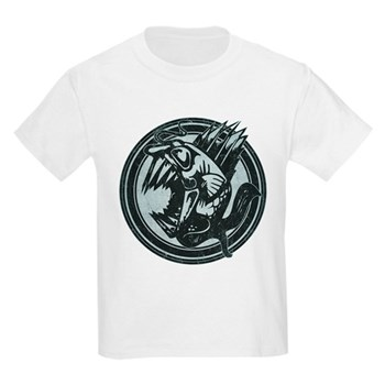 Distressed Wild Piranha Stamp Kids Light T-Shirt