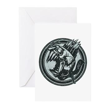 Distressed Wild Piranha Stamp Greeting Cards (10 p