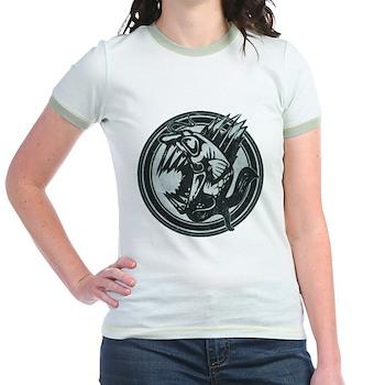 Distressed Wild Piranha Stamp Jr. Ringer T-Shirt
