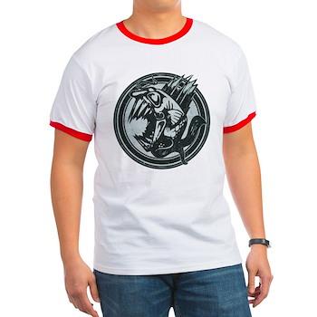 Distressed Wild Piranha Stamp Ringer T-Shirt