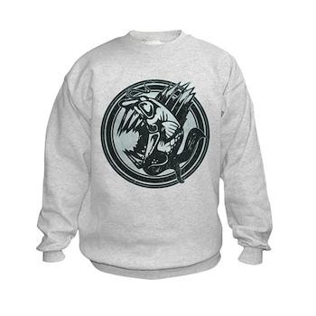 Distressed Wild Piranha Stamp Kids Sweatshirt