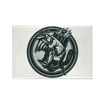 Distressed Wild Piranha Stamp Rectangle Magnet (10