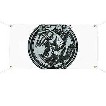 Distressed Wild Piranha Stamp Banner