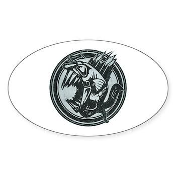 Distressed Wild Piranha Stamp Oval Sticker (50 pac