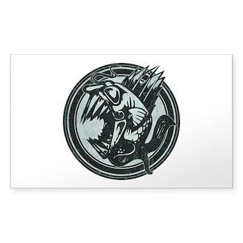 Distressed Wild Piranha Stamp Rectangle Sticker (1
