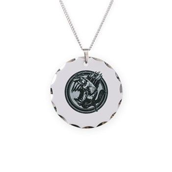 Distressed Wild Piranha Stamp Necklace Circle Char