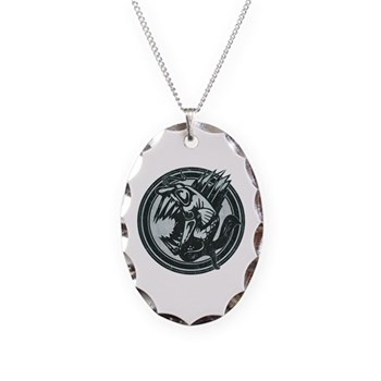 Distressed Wild Piranha Stamp Necklace Oval Charm