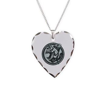 Distressed Wild Piranha Stamp Necklace Heart Charm