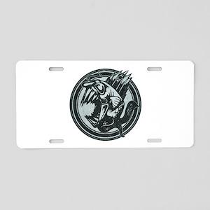 Distressed Wild Piranha Stamp Aluminum License Pla