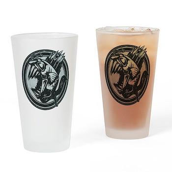 Distressed Wild Piranha Stamp Drinking Glass