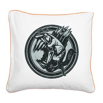 Distressed Wild Piranha Stamp Square Canvas Pillow