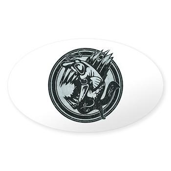 Distressed Wild Piranha Stamp Oval Sticker