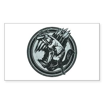 Distressed Wild Piranha Stamp Rectangle Sticker