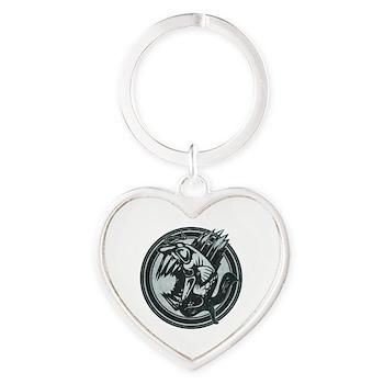 Distressed Wild Piranha Stamp Heart Keychain