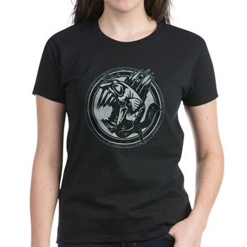 Distressed Wild Piranha Stamp Women's Dark T-Shirt