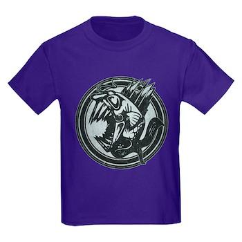 Distressed Wild Piranha Stamp Kids Dark T-Shirt