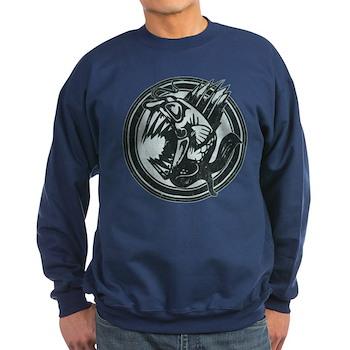 Distressed Wild Piranha Stamp Dark Sweatshirt