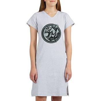 Distressed Wild Piranha Stamp Women's Nightshirt