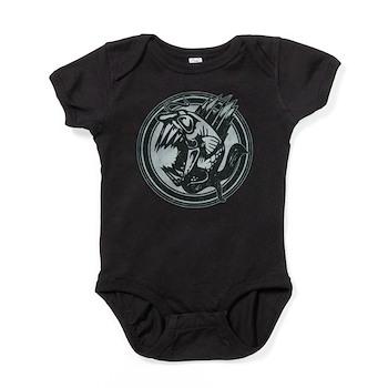 Distressed Wild Piranha Stamp Baby Bodysuit