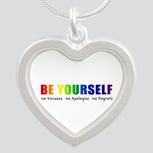Be Yourself (Rainbow) Silver Heart Necklace