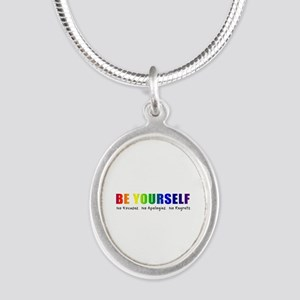 Be Yourself (Rainbow) Silver Oval Necklace