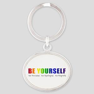 Be Yourself (Rainbow) Oval Keychain