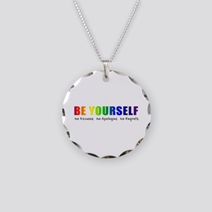 Be Yourself (Rainbow) Necklace Circle Charm