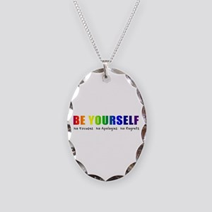 Be Yourself (Rainbow) Necklace Oval Charm