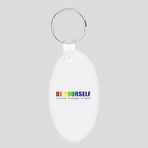 Be Yourself (Rainbow) Aluminum Oval Keychain