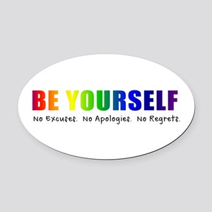 Be Yourself (Rainbow) Oval Car Magnet