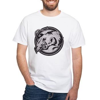 Distressed Wild Rat Stamp White T-Shirt