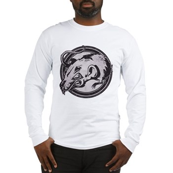 Distressed Wild Rat Stamp Long Sleeve T-Shirt