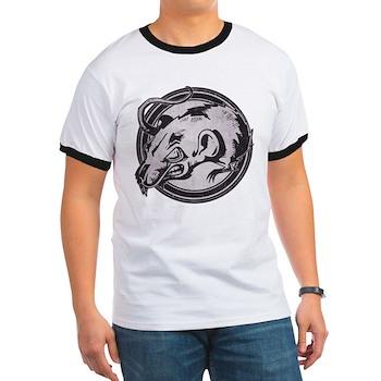 Distressed Wild Rat Stamp Ringer T-Shirt