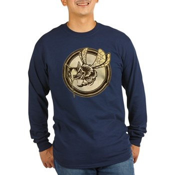Distressed Wild Wasp Stamp Long Sleeve Dark T-Shir