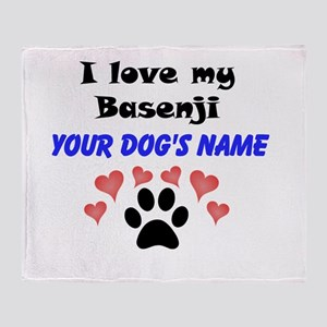 Custom I Love My Basenji Throw Blanket